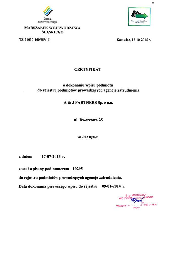Certyfikat A&J Partners